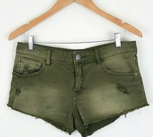 Free People Olive Distressed Shorts